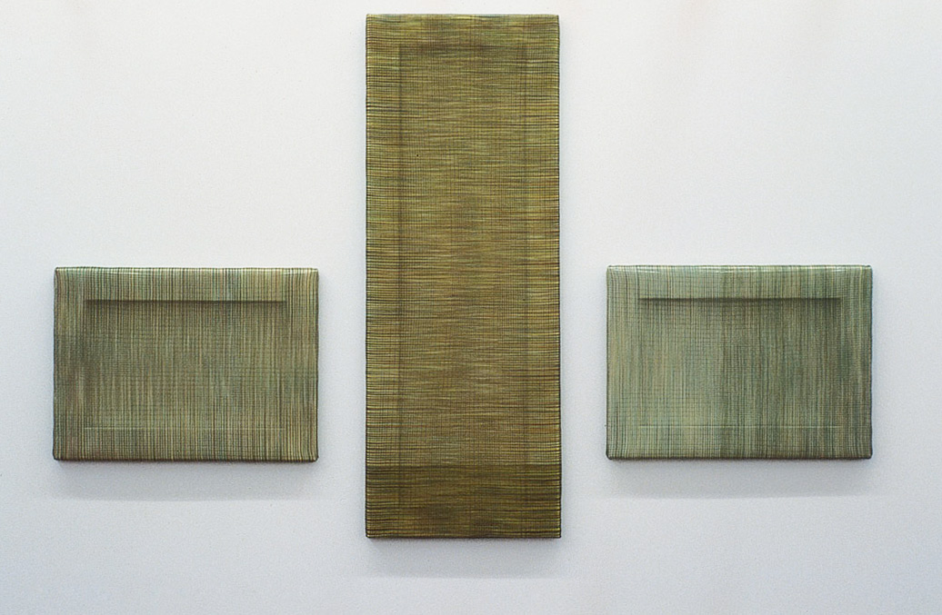 Flood, 1999. Woven fishing line, wooden frame, 3 panels, 56 x 41 cm, 112 x 41 cm, 56 x 41 cm