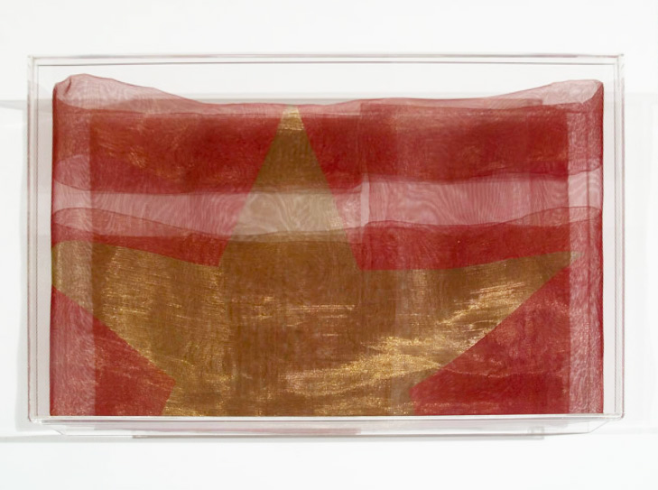 Folded Flag, 1996. Enamel paint, brass mesh, Perspex, 100 x 70 cm