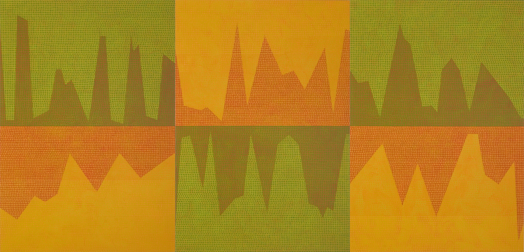 Anomalies Series #2, 2005. Oil paint, pigment, medium on linen, 130 x 270 cm, 3 panels