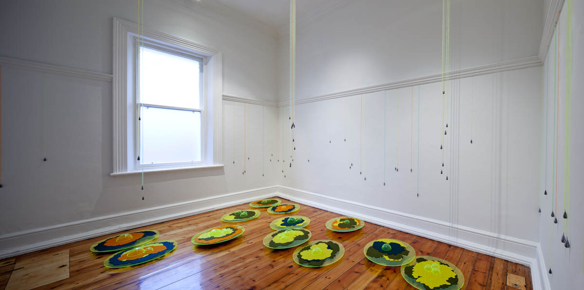 Green Precipitation (Microclimate Series), wool felt, Perspex, knitted fishing line, lead, sound. Dimensions variable. Installation view at Linden Centre for Contemporary Arts Melbourne