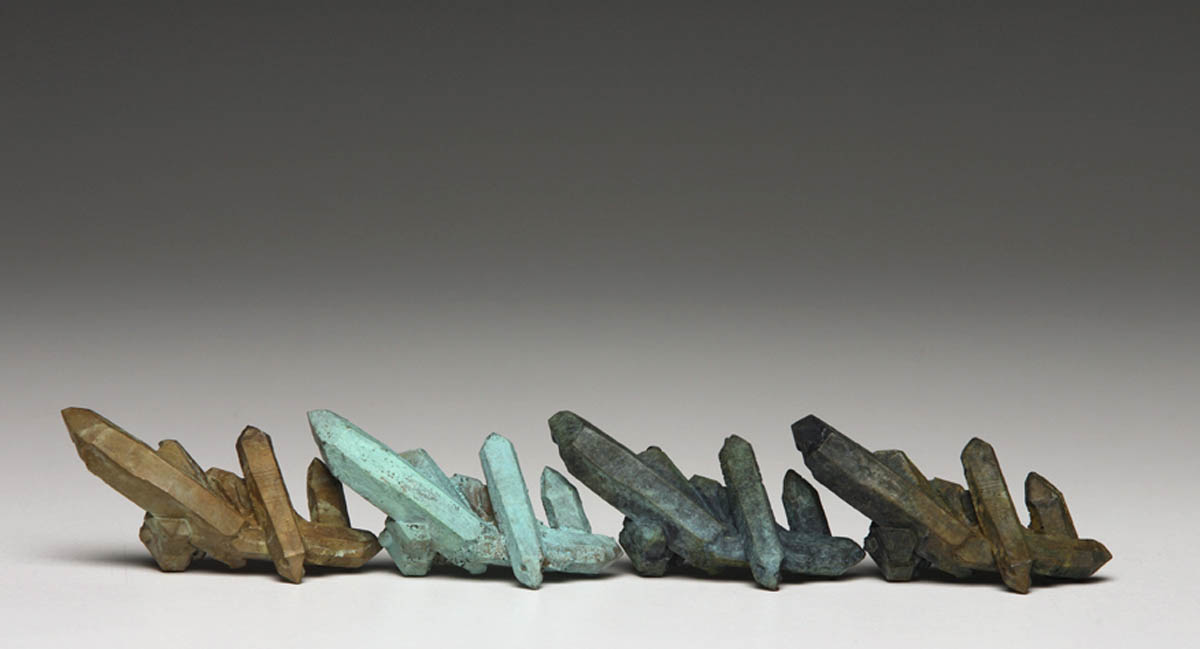 Sequential Landforms #, patinated bronze, 3 x 2.5 x 18 cm, dimensions variable