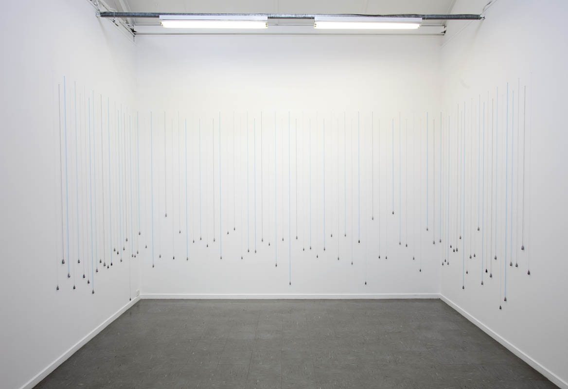 Heavy Rain #2, Installation view, hand-knitted fishing line, lead, 89 strands, 270 x 890 cm