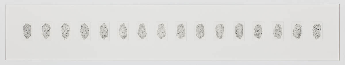 Surface of the earth #3 (16 stills), Graphite on paper 32 x 166 cm
