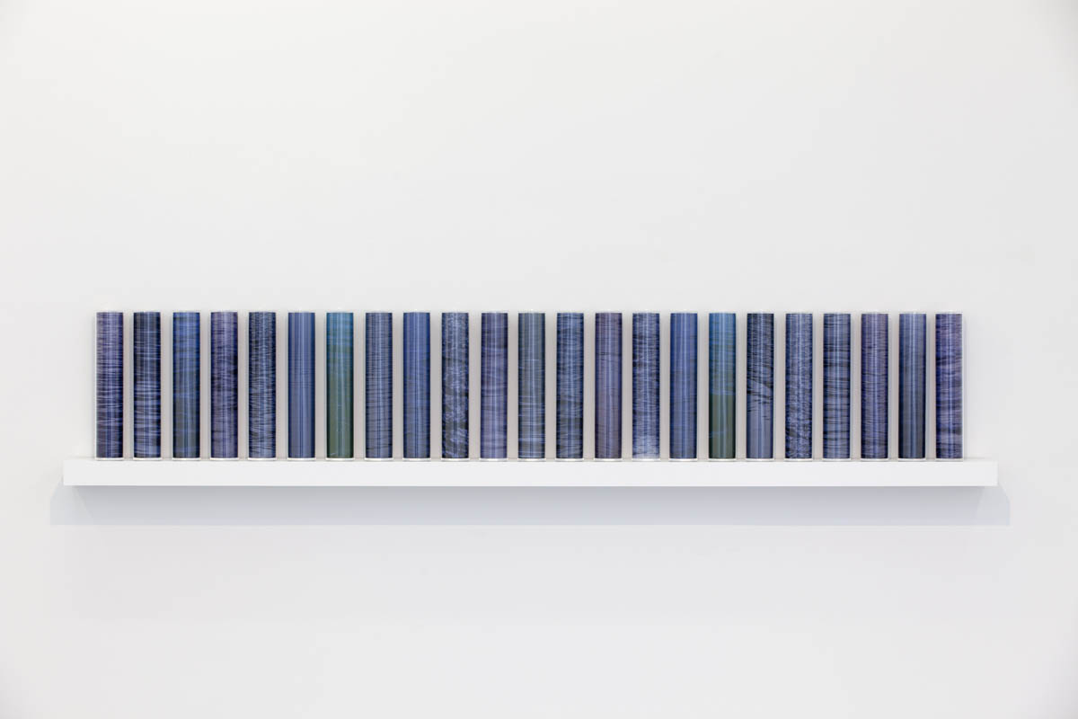 Mutable (arctic waters), pigment prints on acetate, Perspex, wooden shelf, 48 x 250 x 18 cm