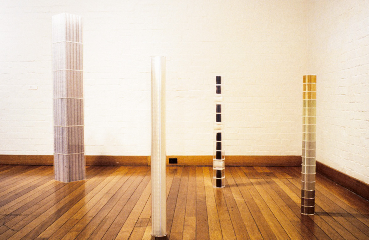 Mixed media sculptural works, 1992, installation view. Confrontations, Ivan Dougherty Gallery Sydney