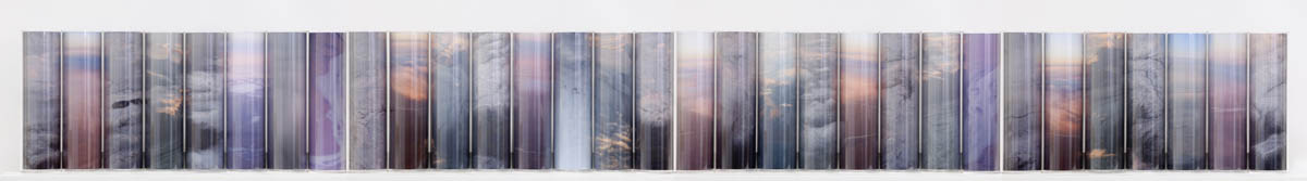Above Sea Level Series #2 (Iceland), pigment prints, Perspex cylinders, wooden shelf, 31 parts,  30 x 266 x 24 cm