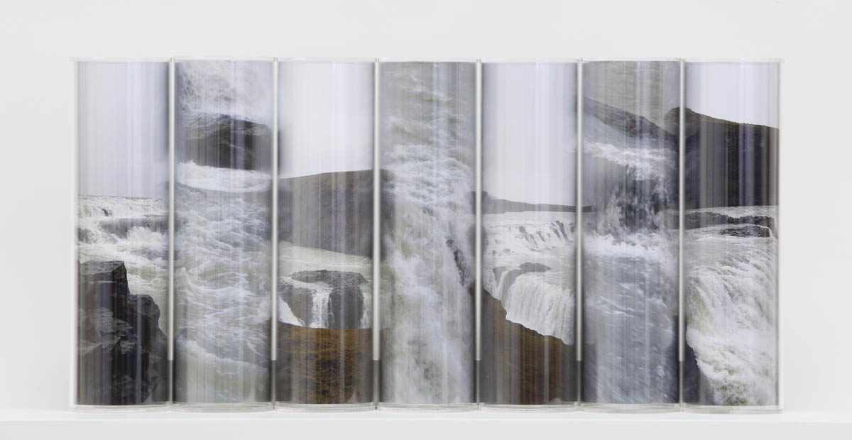 Glacial, pigment prints, Perspex cylinders, wooden shelf,  30 x 70 x 20 cm