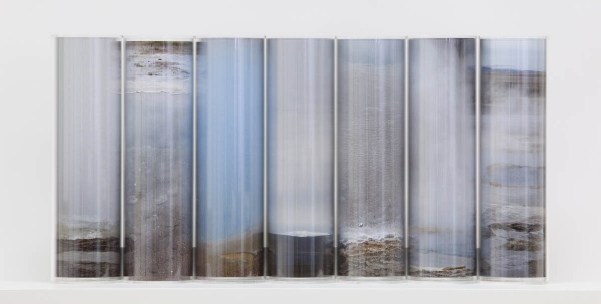 Geothermal, pigment prints, Perspex cylinders, wooden shelf, 30 x 70 x 20 cm