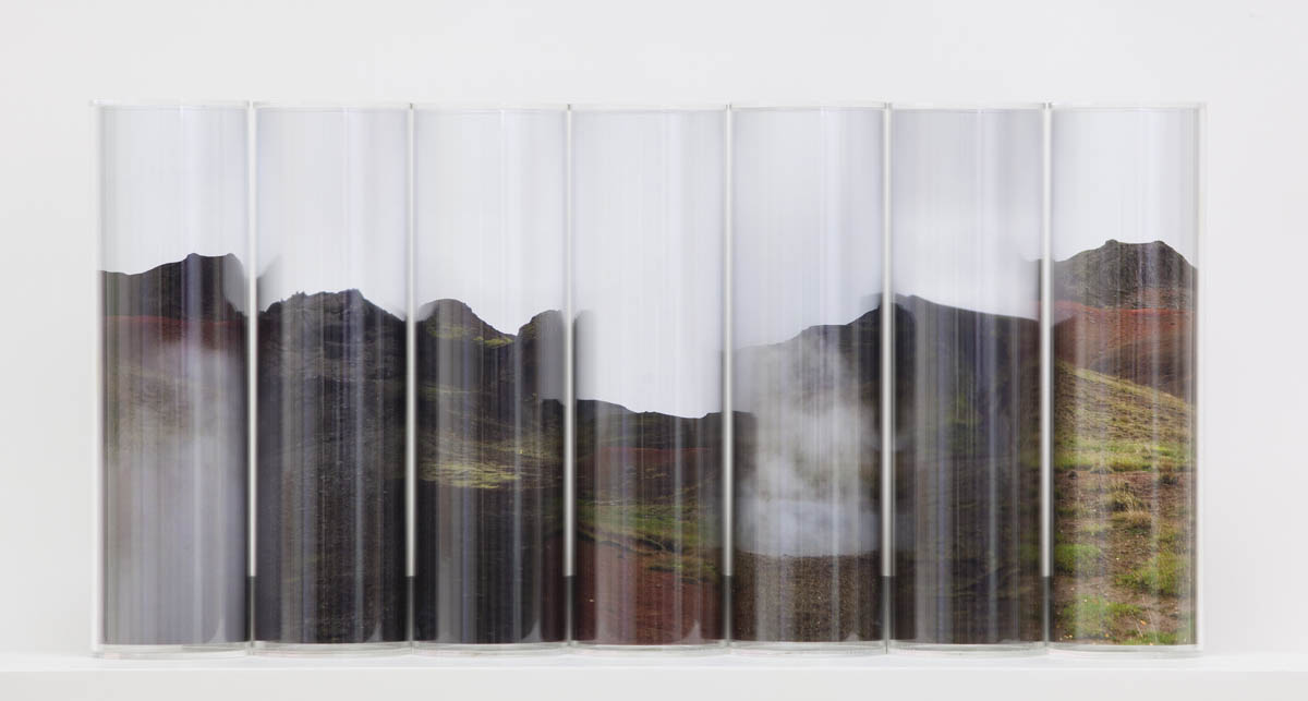 Volcanic, pigment prints, Perspex cylinders, wooden shelf, 30 x 70 x 20 cm
