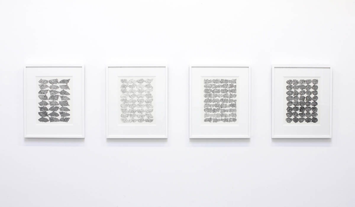 Stratigraphy of Time #1-4, graphite on watercolour paper, 34.5 x 27 cm each